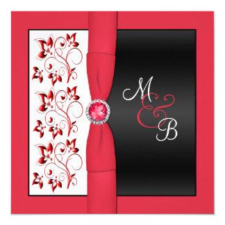 Black, Red & White Square Monogrammed Invitation
