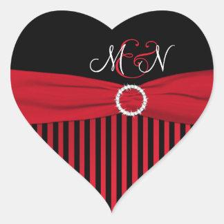 Black Red White Striped Monogram Wedding Sticker