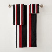 Black Red White Striped Towel Set