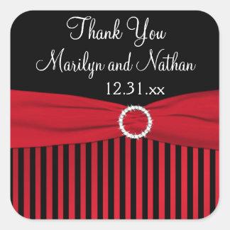 Black Red White Striped Wedding Favor Sticker