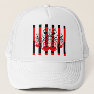 Black Red White Stripes & Heart Swirls Trucker Hat