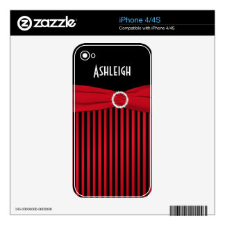 Black, Red, White Stripes iPhone 4/4s Skin iPhone 4S Decal
