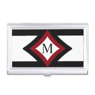 Diamond shaped business card holders cases zazzle black red white stylish diamond shaped monogram case for business cards colourmoves