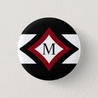 Black, Red & White Stylish Diamond Shaped Monogram Pinback Button