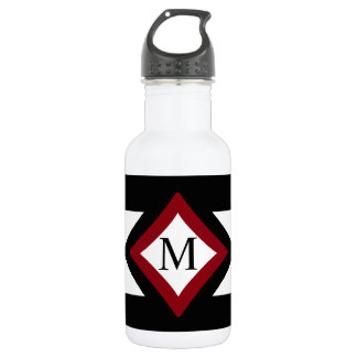 Black, Red & White Stylish Diamond Shaped Monogram Stainless Steel Water Bottle
