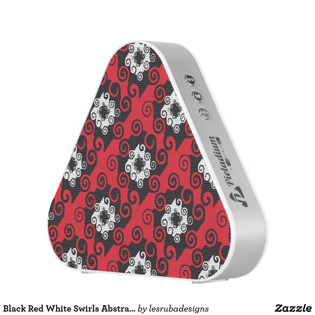 Black Red White Swirls Abstract Pattern Speaker