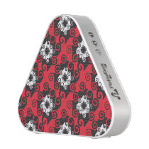 Black Red White Swirls Abstract Pattern Speaker