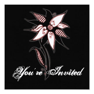 "Black Red & White Swirly Flower by Naomi 5.25"" Square Invitation Card"