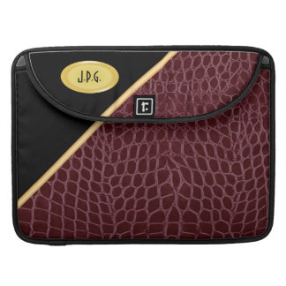 Black & Red Wine Faux Crocodile MacBook Pro Sleeve
