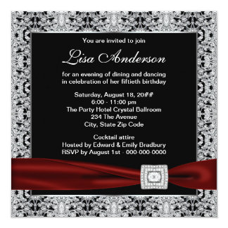 Black Red Womans Cranberry Red 50th Birthday Party 5.25x5.25 Square Paper Invitation Card