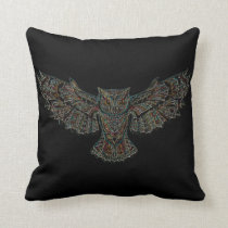 Black Red Yellow Colorful Flying Owl in Flight Throw Pillow