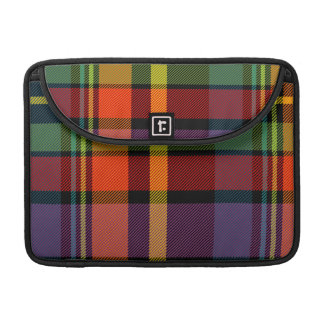 Black, red, yellow, green and purple tartan sleeve for MacBook pro