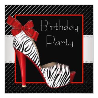 Black Red Zebra Birthday Party Invitations