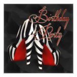 Black Red Zebra High Heel Shoe Birthday Party Personalized Invites