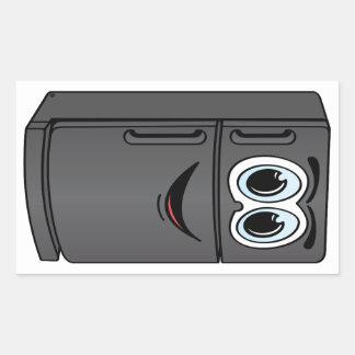 Black Refrigerator Cartoon Rectangular Sticker