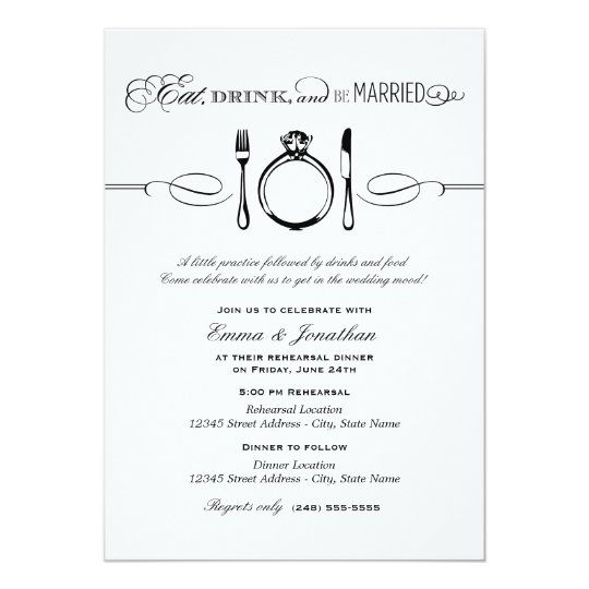 Black Rehearsal Dinner Eat Drink And Be Married Invitation