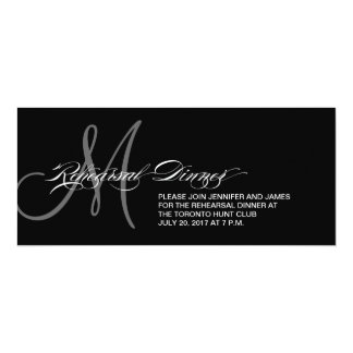 Black Rehearsal Dinner Invitation Monogram