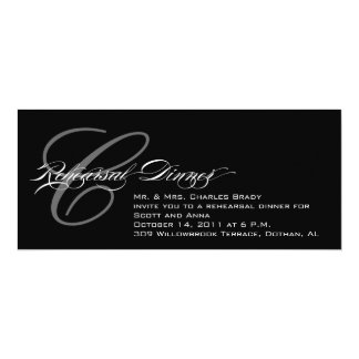 Black Rehearsal Dinner Invitation Monogram C
