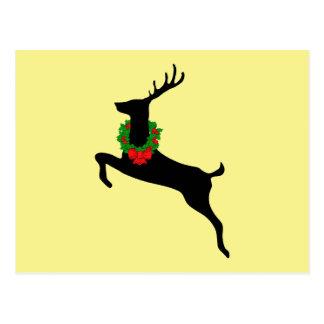 Black Rein Deer With Christmas Wreath Postcard