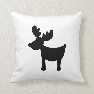 Black reindeer throw pillows