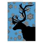 Black Reindeer with Snowflakes Greeting Cards
