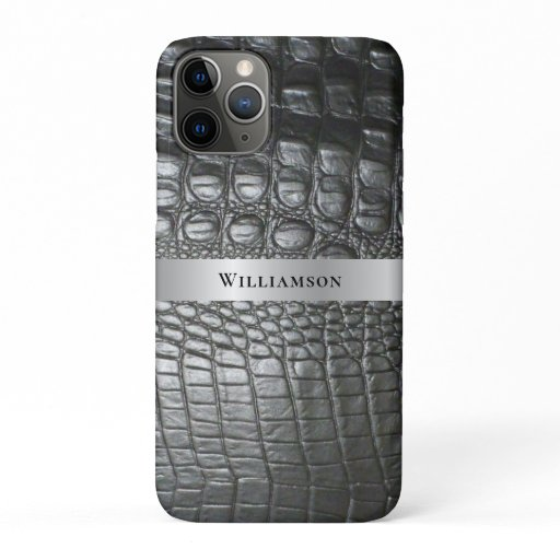 Black Reptile Digital Leather Silver Metal iPhone 11 Pro Case