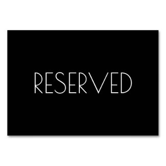 Black Reserved Seating Card Both Sides