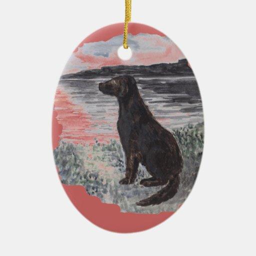 Black Retriever Dog Christmas Ornament