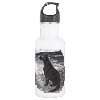 Black Retriever Dog 18oz Water Bottle