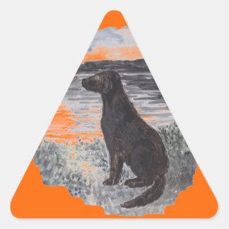 Black Retriever Dog Triangle Sticker