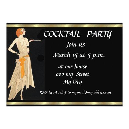 Black Retro Cocktail Party Invitation