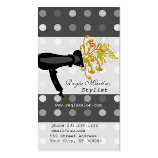 Black Retro Dotted Beauty Salons Stylist Business Card