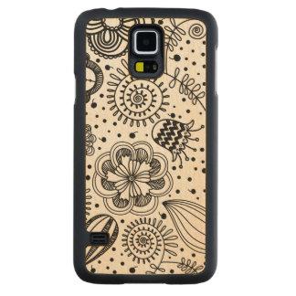 Black Retro Floral Design You Change Background Carved Maple Galaxy S5 Slim Case