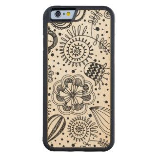 Black Retro Floral Design You Change Background Carved Maple iPhone 6 Bumper Case