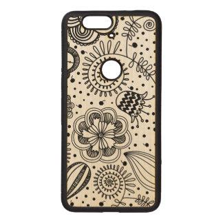 Black Retro Floral Design You Change Background Wood Nexus 6P Case