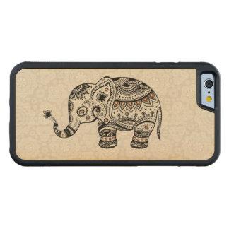Black Retro Flowers & Elephant Brown Diamonds Carved® Maple iPhone 6 Bumper