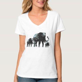 Black Retro Flowers Elephant Family Tee Shirt