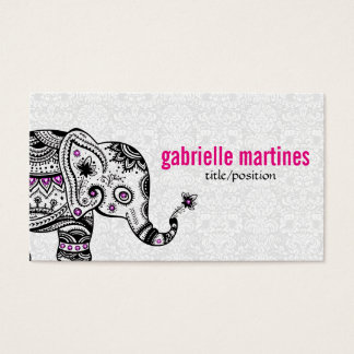 Black Retro Flowers & Elephant Pink Diamonds Business Card