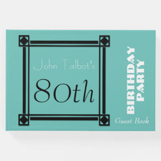 Black Retro Frame 70th Birthday Party Guest Book