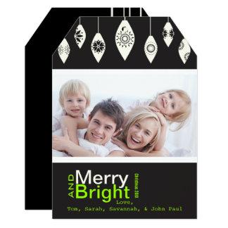Black Retro Merry and Bright Family Photo Card