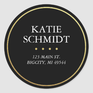 Black Return Address Label with Faux Gold Foil