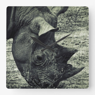 Black Rhino Grazing, Grunge, Monochrome Square Wall Clock