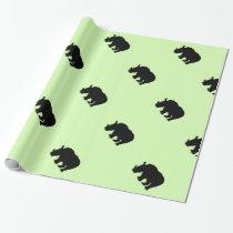 Black Rhino Green Wrapping Paper