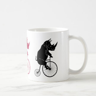 Black Rhino on Vintage Bike Coffee Mug