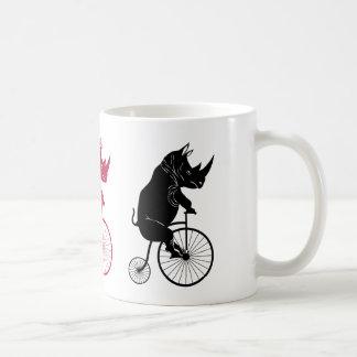 Black Rhino on Vintage Bike Coffee Mug