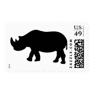 black rhino rhinoceros  illustration stamps