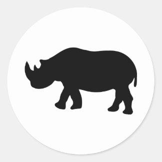 black rhino rhinoceros  illustration round sticker