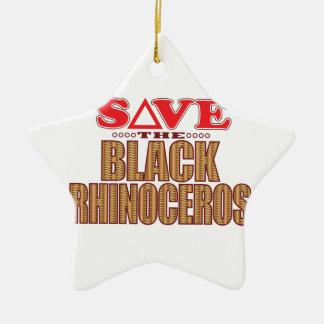 Black Rhino Save Ceramic Ornament