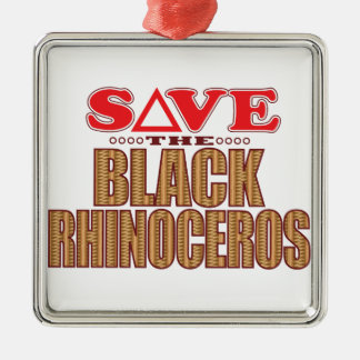 Black Rhino Save Metal Ornament