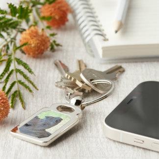 Black Rhino Silver-Colored Rectangular Metal Keychain